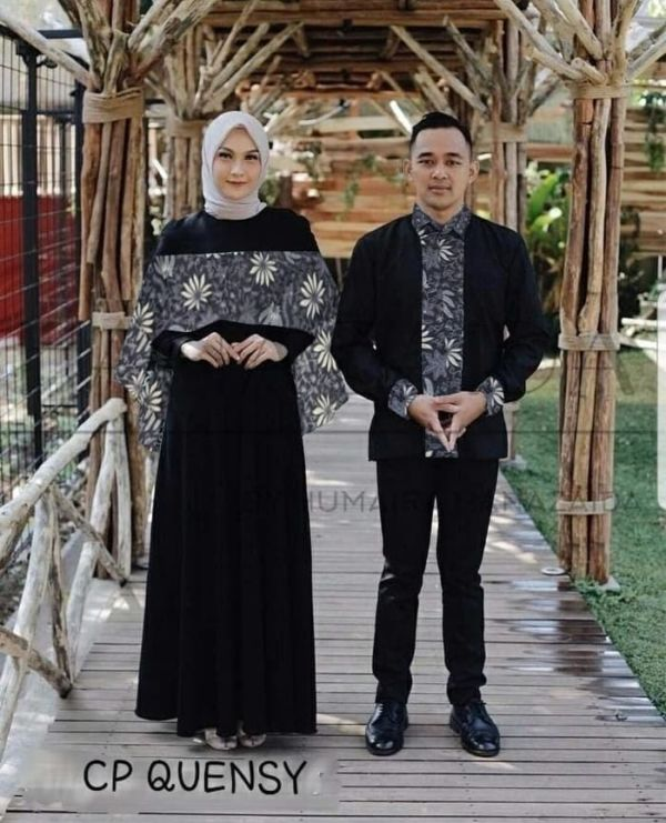 Baju Couple Gamis Kemeja Batik Muslim Lengan Panjang