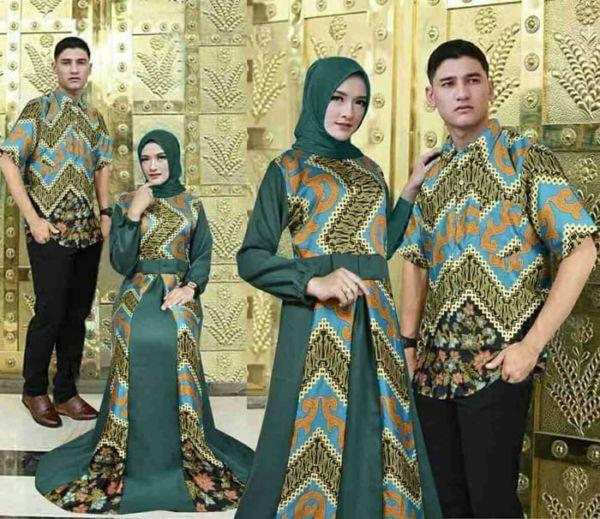Baju Gamis Kemaja Couple Muslim Motif Batik Modern