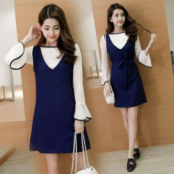 Baju Mini Dress Overall Pendek Cantik Model Terbaru
