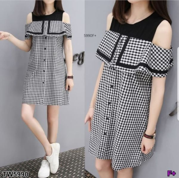 Baju Mini Dress Pendek Bahu Bolong Motif Kotak
