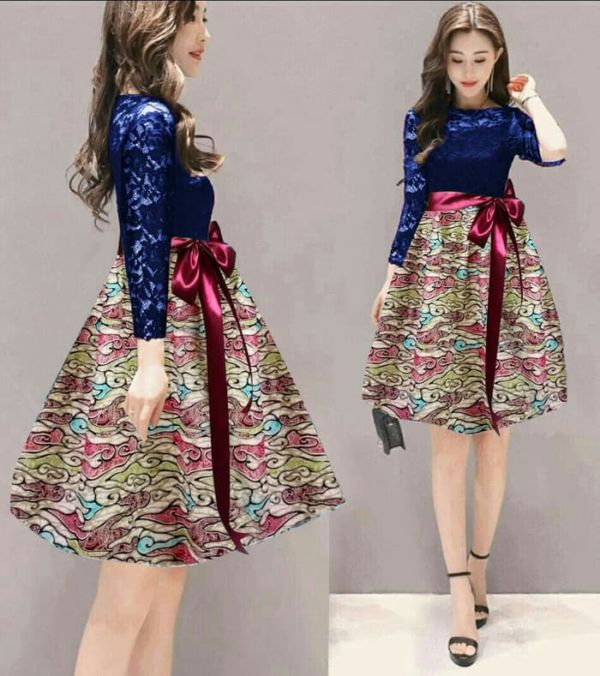 Baju Mini Dress Pendek Pesta Motif Batik Brukat