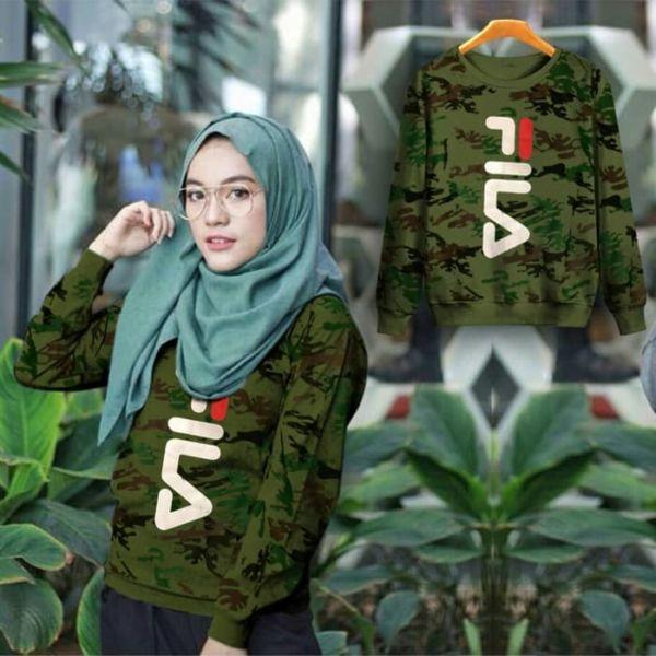 Baju Sweater Wanita Motif Army Modis Model Terbaru
