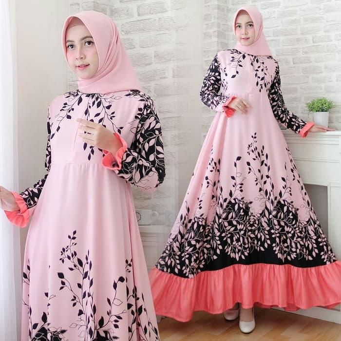 Model Baju Gamis Motif Cantik Modern Terbaru Warna Pink 1