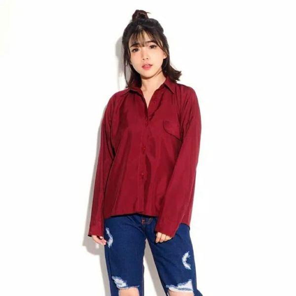 Model Baju Kemeja Wanita Lengan Panjang Polos