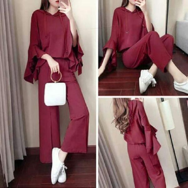 Model Setelan Baju Hoodie Terompet dan Celana Panjang