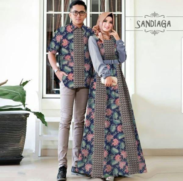 Setelan Baju Gamis dan Kemeja Couple Motif Batik