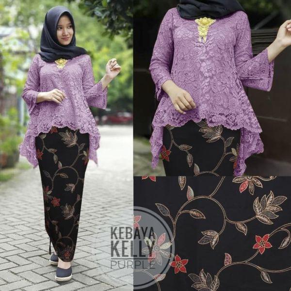 Setelan Baju Kebaya Brukat dan Rok Batik Muslim