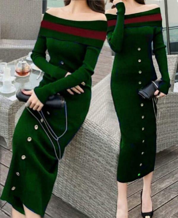 Baju Dress Bahan Rajut Lengan Panjang Model Sabrina