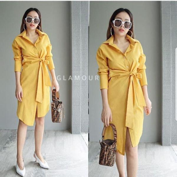 Baju Dress Pendek Pita Modern Model Terbaru