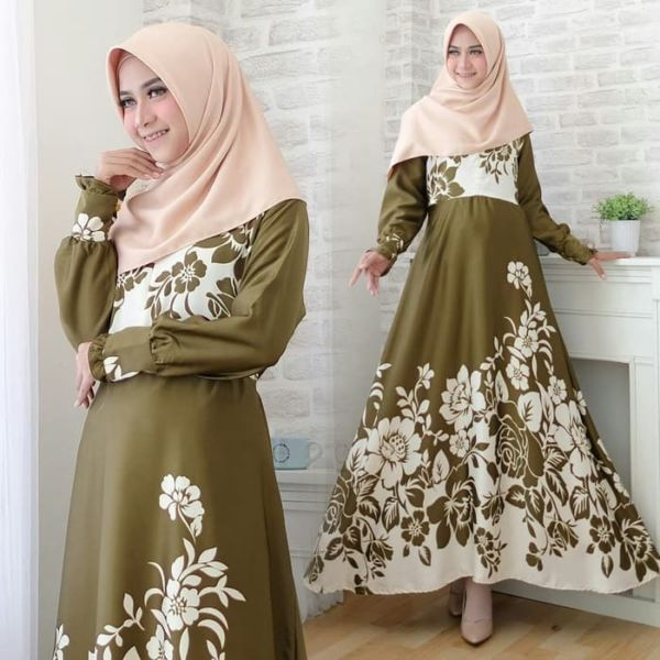 Baju Gamis Long Dress Muslim Motif Modern