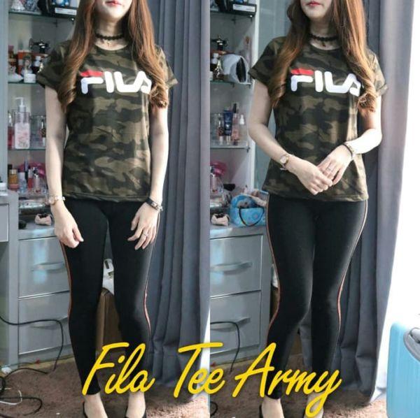 Baju Kaos Oblong Cewek Lengan Pendek Motif Army