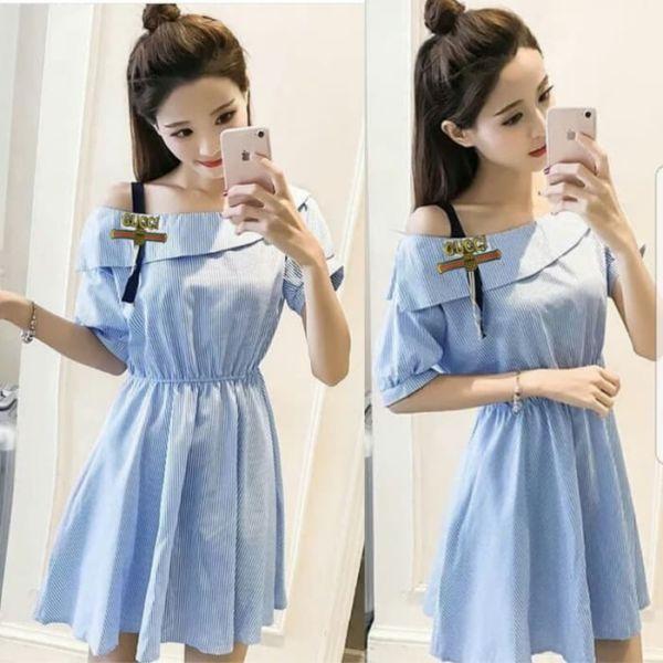 Baju Mini Dress Cantik Motif Salur Model Terbaru