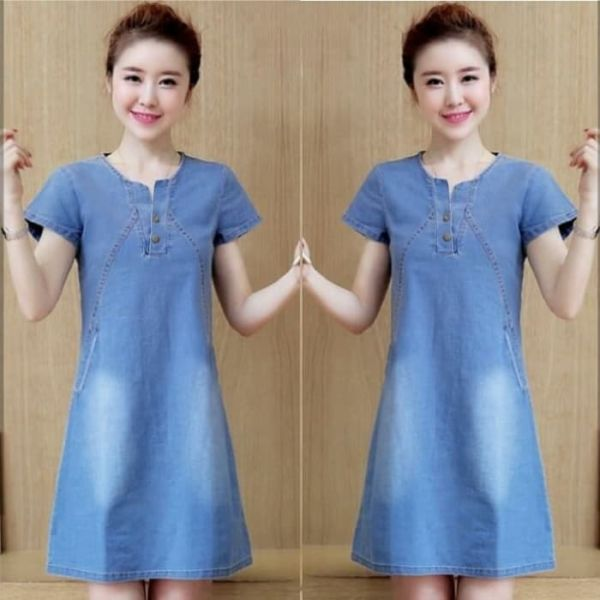 Baju Mini Dress Pendek Bahan Katun Denim Modern