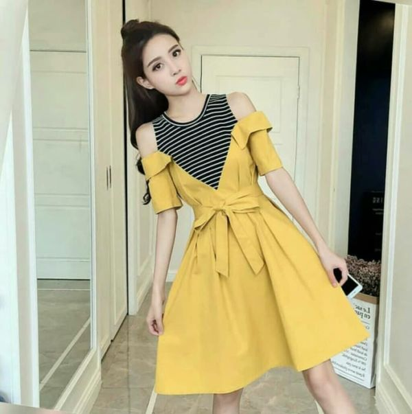 Baju Mini Dress Pendek Bahu Bolong Model Terbaru