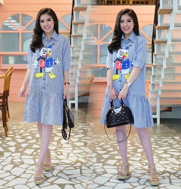 Baju Mini Dress Pendek Belang Gambar Kartun Modern
