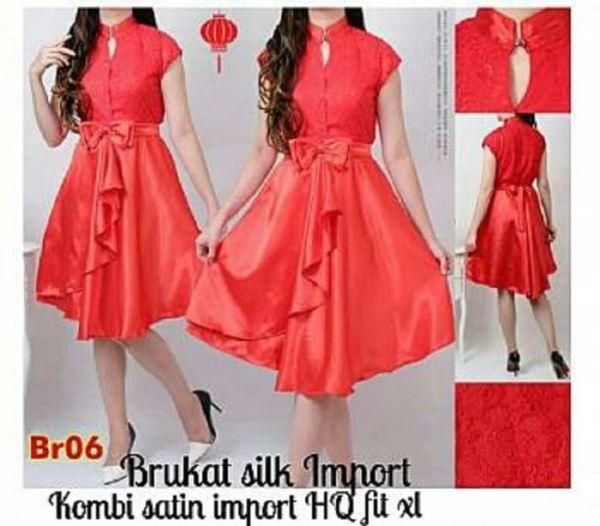 Baju Mini Dress Pendek Brukat Warna Merah Cantik