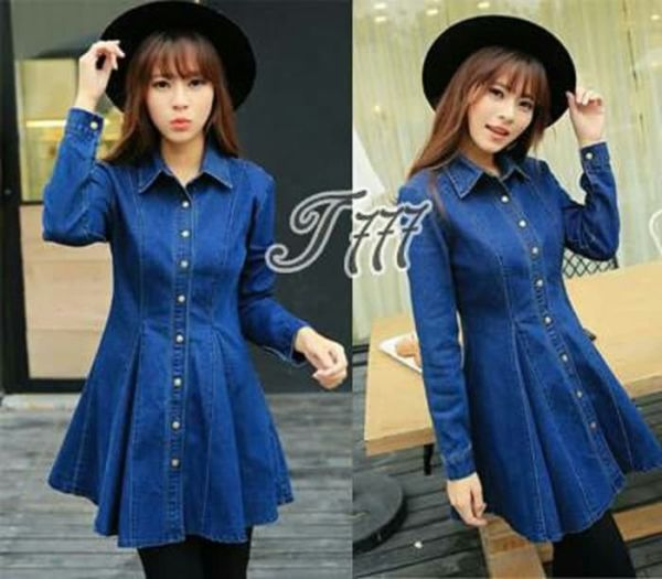 Baju Mini Dress Pendek Katun Denim Lengan Panjang