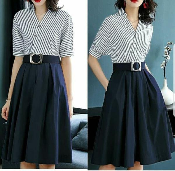 Baju Mini Dress Pendek Kombinasi Motif Salur Belang