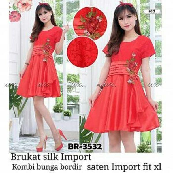 Baju Mini Dress Pendek Pesta Kombinasi Brukat Merah