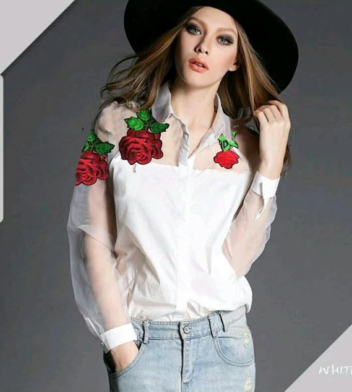 Model Baju Atasan Wanita Bordir Lace Jaman Now Warna Putih