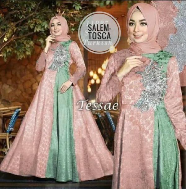 Model Baju Gamis Glitter Bordir Pesta Cantik Terbaru