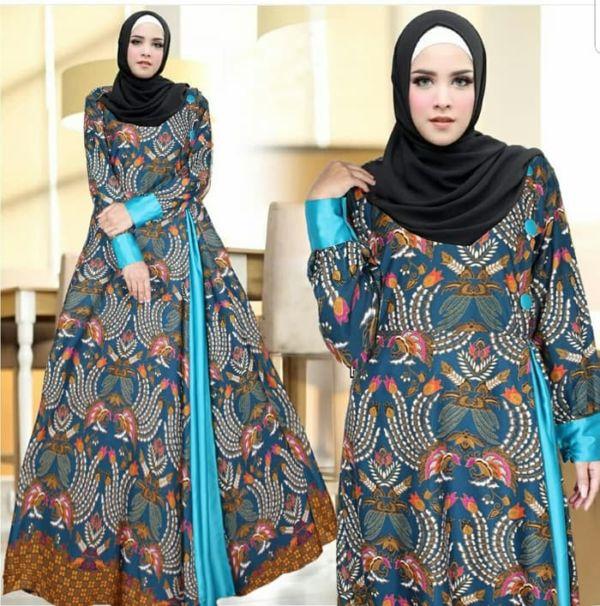 Model Baju Gamis Motif Batik Cantik Modern Terbaru
