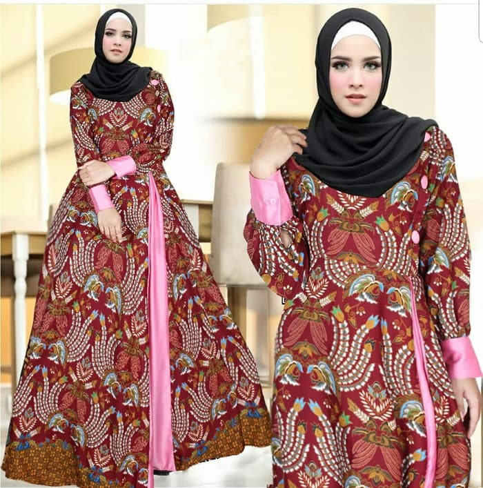 Model Baju Gamis Motif Batik Cantik Modern Terbaru Ryn Fashion