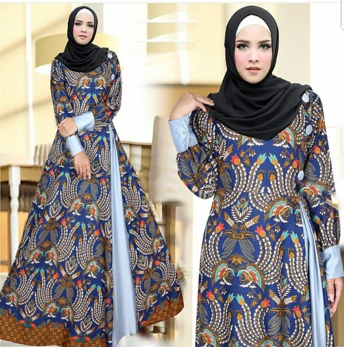Model Baju Gamis Motif Batik Cantik Modern Terbaru Warna Navy