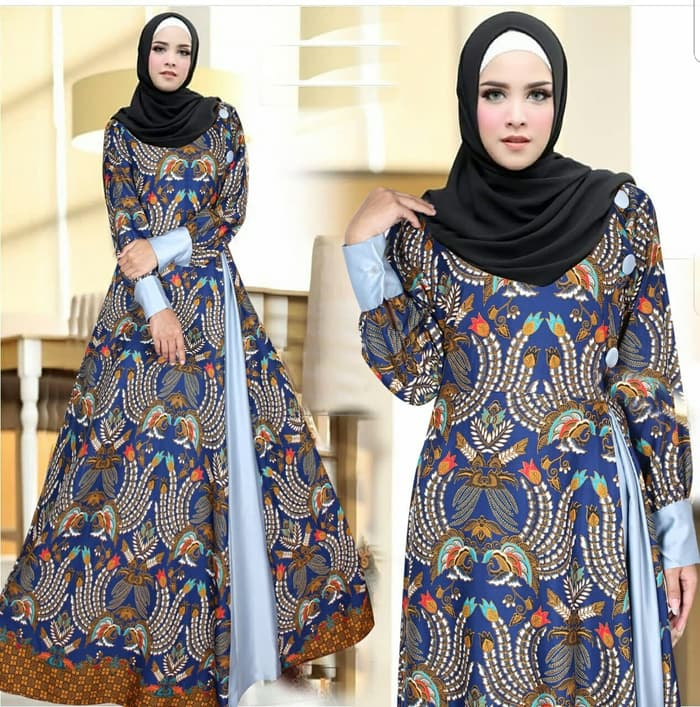 Model Baju Gamis Motif Batik Cantik Modern Terbaru | RYN Fashion