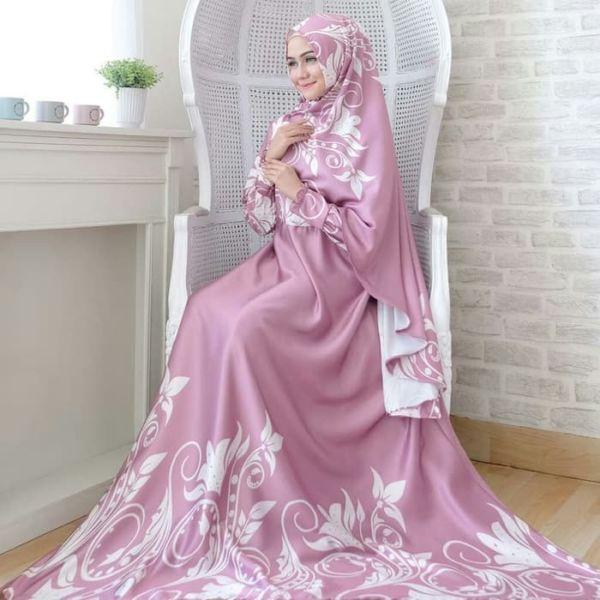 Setelan Baju Gamis Syari Bahan Maxmara Motif