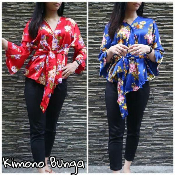 Baju Atasan Lengan Panjang Model Kimono Terbaru