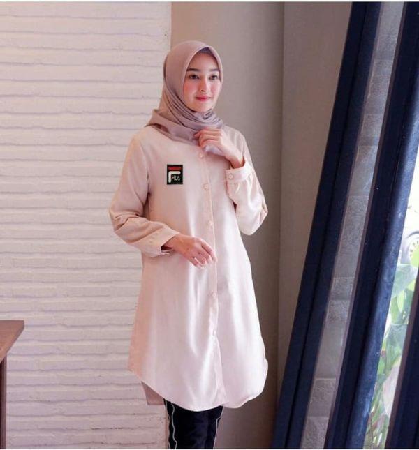 Baju Atasan Wanita Tunik Hijab Muslimah Lengan Panjang