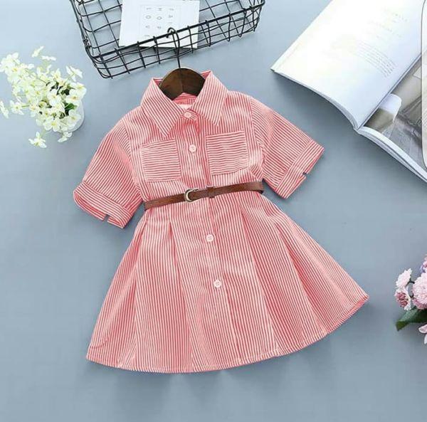 Baju Dress Pendek Anak Perempuan Motif Salur Belang