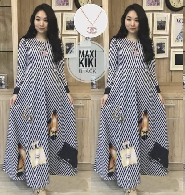 Baju Gamis Long Dress Motif Salur Belang Model Terbaru