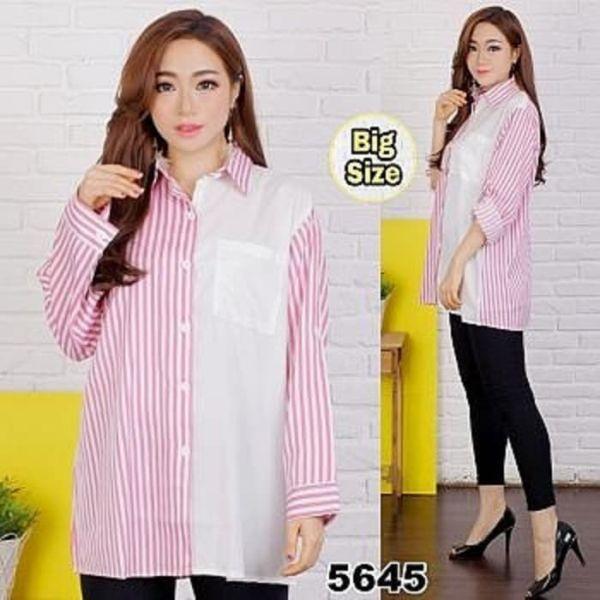 Baju Kemeja Wanita Belang-belang Ukuran Jumbo (Big Size)