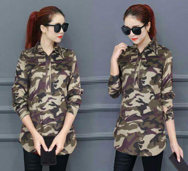 Baju Kemeja Wanita Lengan Panjang Motif Army