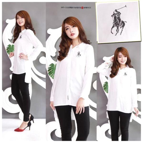 Baju Kemeja Wanita Long Hem Cewek Lengan Panjang