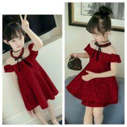 Baju Mini Dress Pendek Pesta Anak Cantik Bahan Brukat