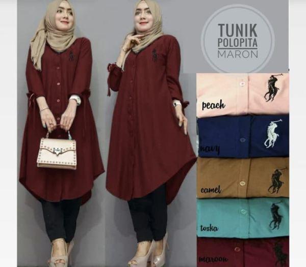 Model Baju Atasan Tunik Hijab Lengan Panjang Terbaru