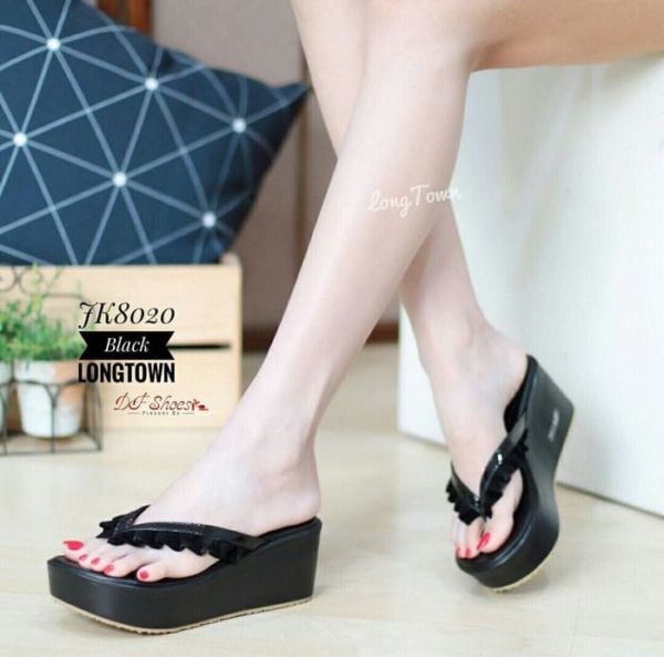 Sandal Jepit Wedges Wanita Simple Model Terbaru