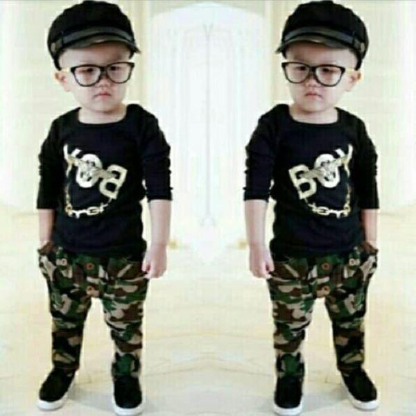 Setelan Baju dan Celana Panjang Army Anak Laki-laki