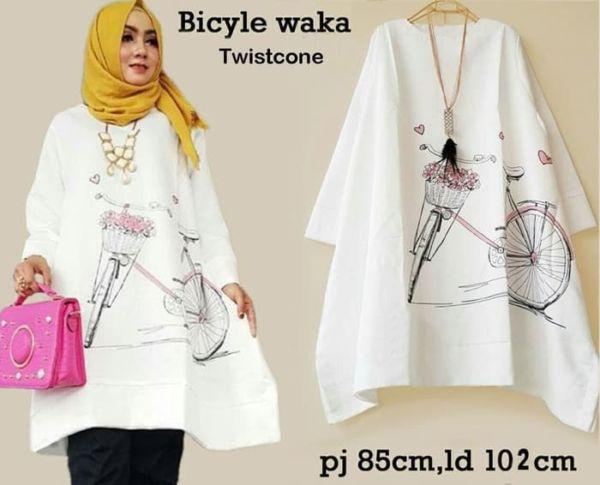 Baju Atasan Tunik Muslim Wanita Warna Putih