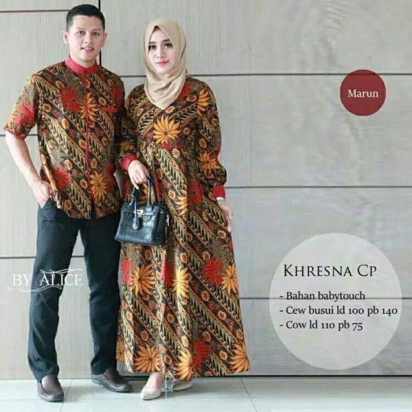 Baju Couple Gamis Busui Motif Batik dan Kemeja Modern
