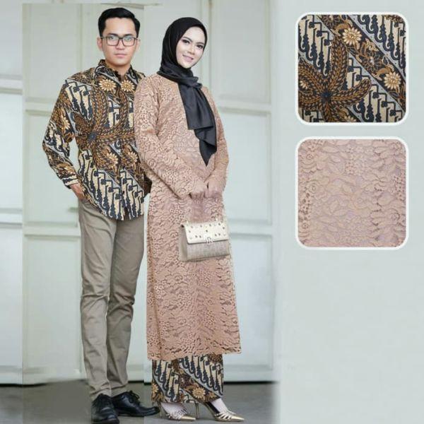 Baju Couple Setelan Kebaya Brukat Long Tunik & Kemeja