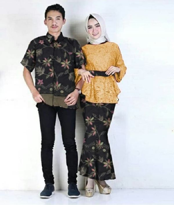Baju Couple Setelan Kebaya Brukat Rok Duyung & Kemeja