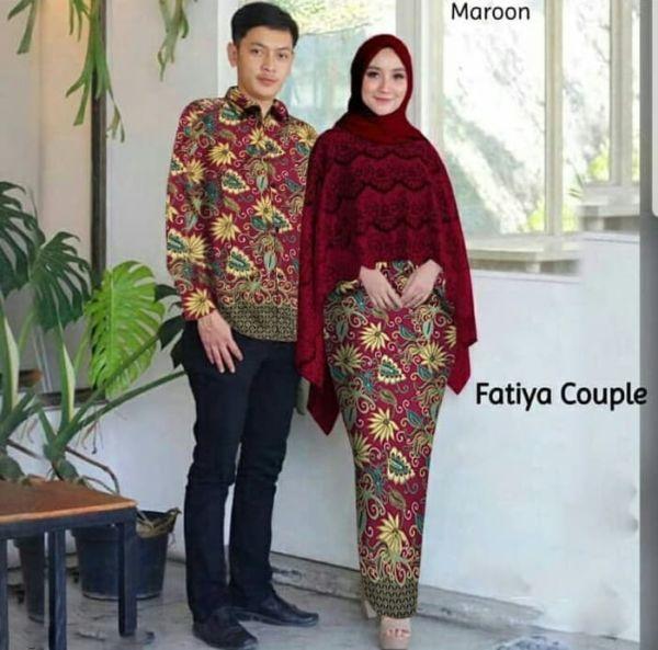 Baju Couple Setelan Rok Span Batik Cape Brukat Kemeja