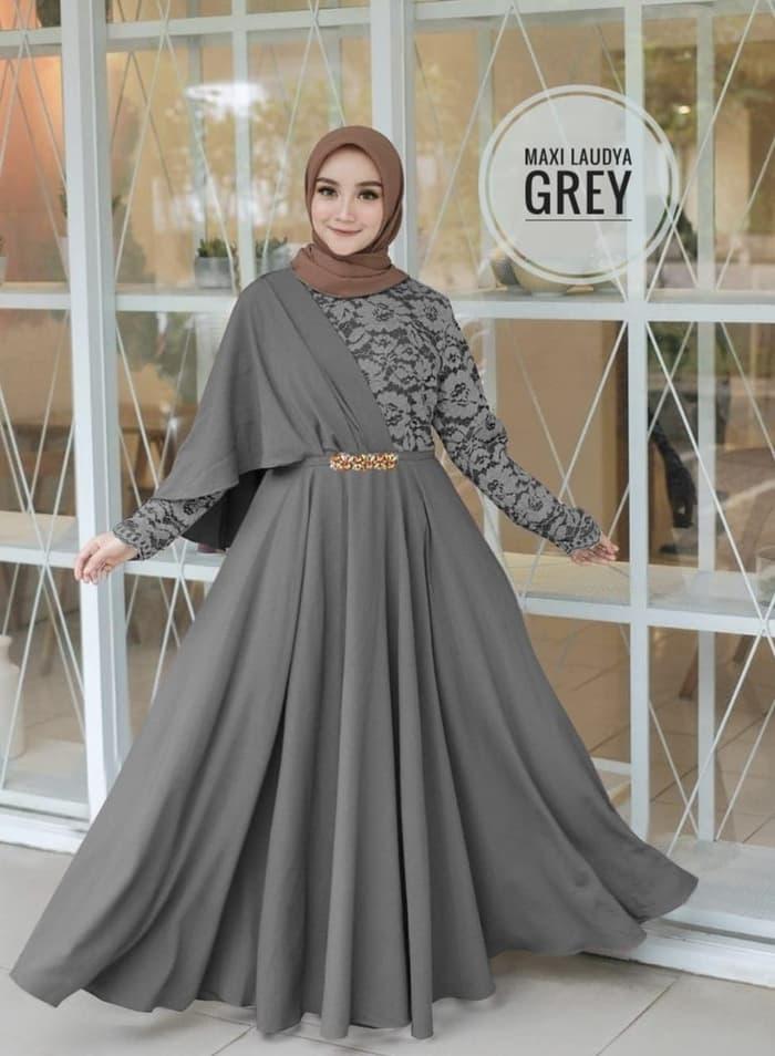 Baju Gamis Long Dress Hijab Model Selendang Pesta