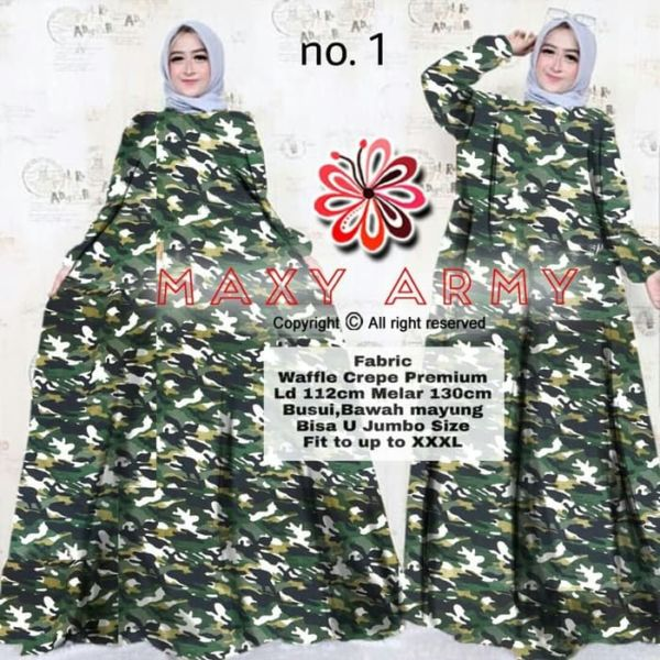 Baju Gamis Long Dress Muslim Motif Army Modern