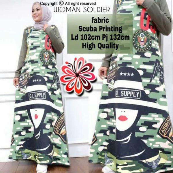 Baju Gamis Long Dress Muslim Motif Army Unik