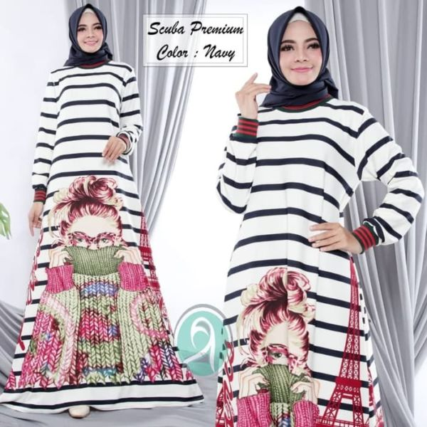 Baju Gamis Modern Bahan Scuba Motif Salur Belang